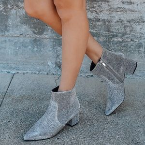 Sofia Silver Glitter Pointed Toe Ankle Booties 6.5
